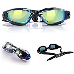 Mirrored Swim Goggles, GVDV Swimming Goggles - No Leaking Anti-Fog UV Protection Clear Swim Glasses with Free Storage Case for Adult Men, Women, Youth, Kids 10+