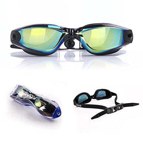 Mirrored Swim Goggles, GVDV Swimming Goggles - No Leaking Anti-Fog UV Protection...