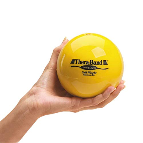 "TheraBand Soft Weight, 4.5"" Diameter Hand Held Ball Shaped Isotonic Weighted Ball for Isometric Workouts, Strength Training and Rehab Exercises, Shoulder Strengthening and Surgery Rehabilitation, Yellow, 2.2 pound"