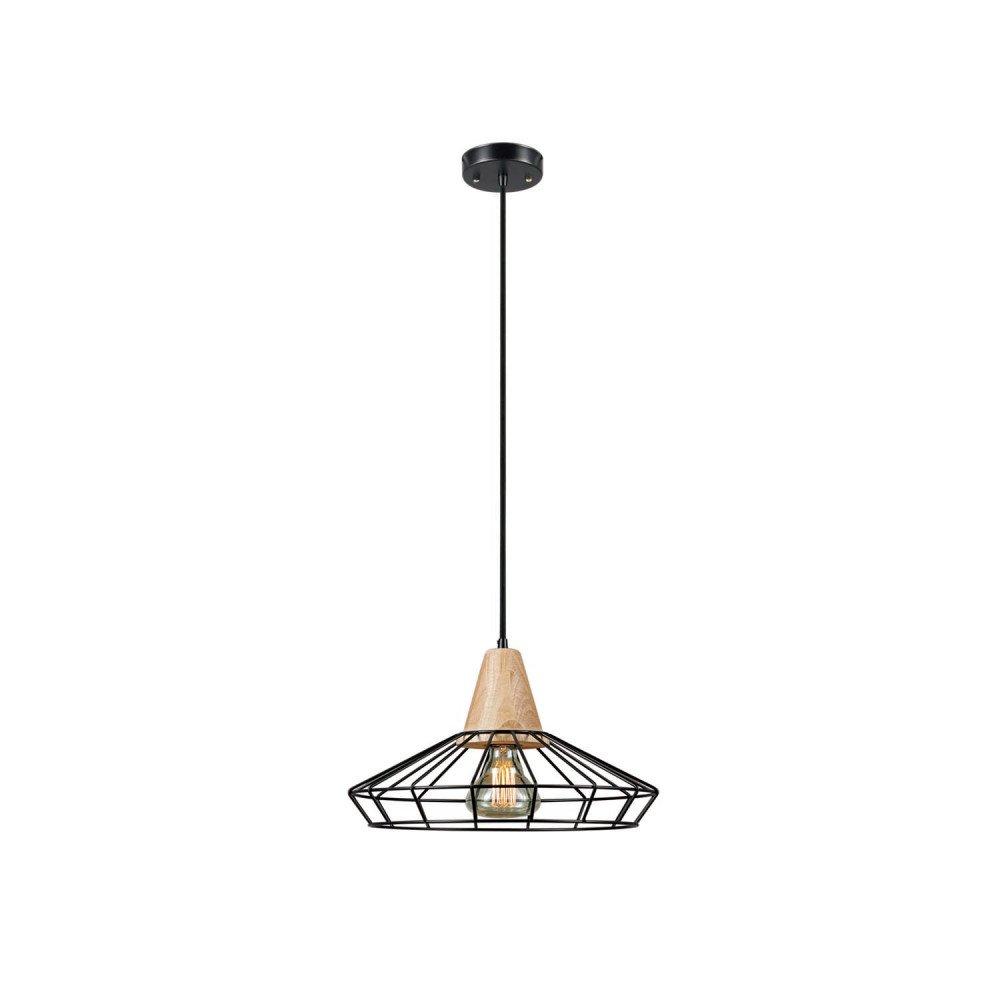 Novogratz Loras 1-Light Caged Pendant, Black Finish, Wood Accent
