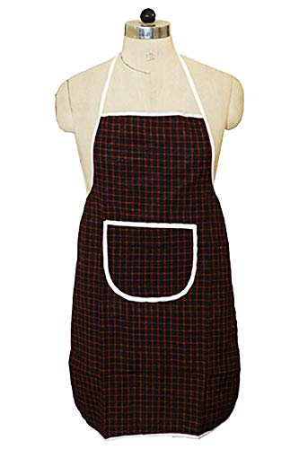 Kuber Industries Checkered Design Cotton Kitchen Apron with Front Pocket (Multi)-CTKTC32667