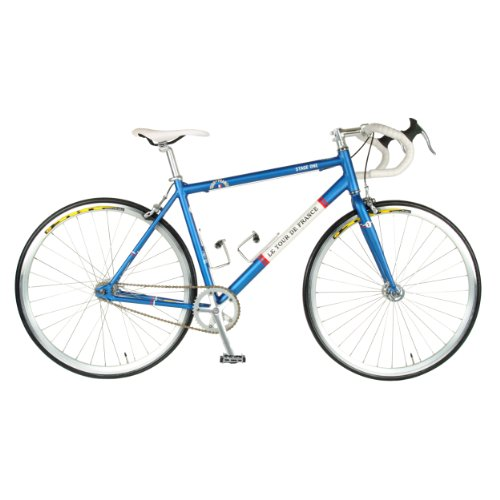 Tour de France Stage One Vintage Fixie Bike, 700c Wheels, Men's Bike, Blue, 45 cm Frame