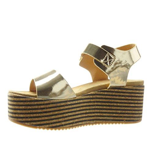 Angkorly Talon Femme Mode Lignes Compensé Lanière Liège Chaussure Mule cm Or Plateforme Sandale Plateforme 7 z4zqrF