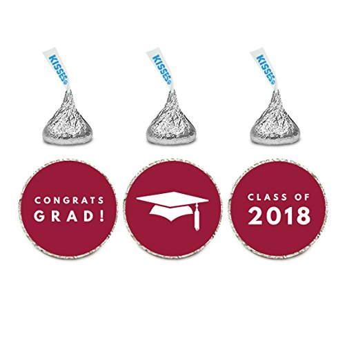 Andaz Press Chocolate Drop Labels Trio, Fits Hershey's Kisses, Graduation 2019, Burgundy, 216-Pack