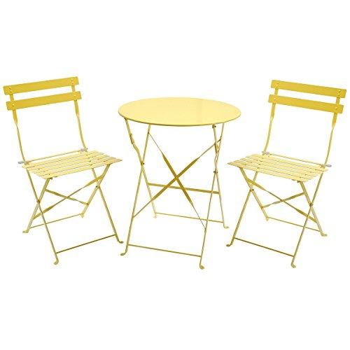 Charles Bentley 3 Piece Folding Metal Bistro Set Garden Patio Furniture Round Table & 2 Chairs - Yellow