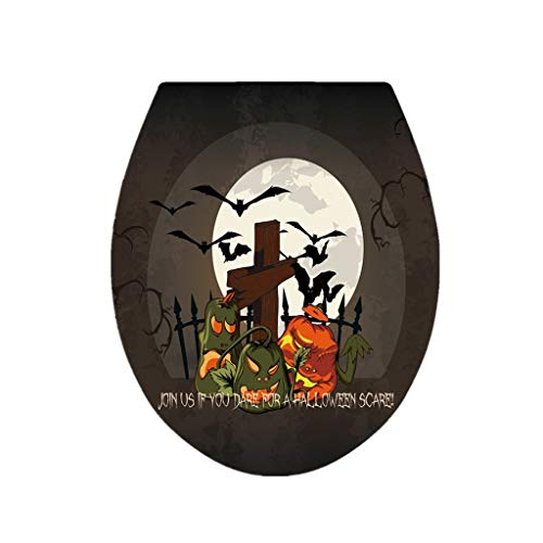 HENWERD Halloween Party Toilet Seat Wall Sticker Scary Horror Removable Decal Decor (A)