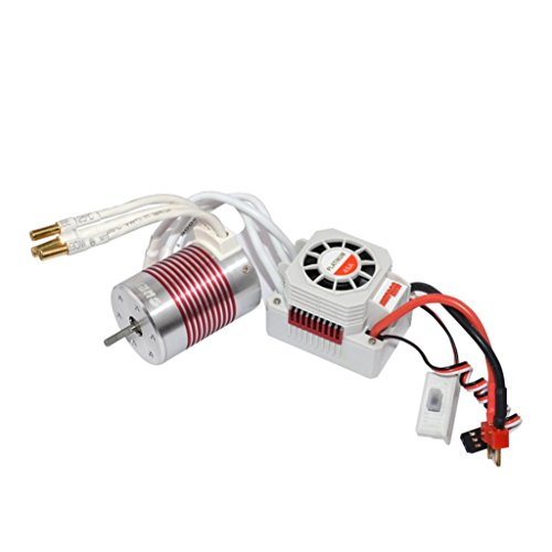 Sensorless Motor Speed Controllers (SurpassHobby Waterproof 3650 4300KV Brushless Sensorless Motor With 45A ESC For 1/10 RC Car Truck, Ruhiku GW)