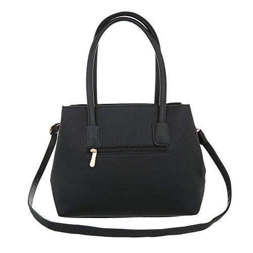 iTal-dEsiGn Damentasche Mittelgroße Schultertasche Handtasche Kunstleder TA-K701 Schwarz kHla6XAGfS