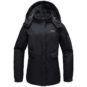 Wantdo Women's Hooded Mountain Fleece Waterproof Parka Outdoor Windproof Ski Jacket Black US L