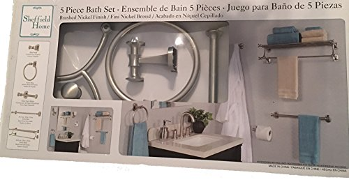 Sheffield Home 5 Piece Bath Set, Brushed Nickel Finish