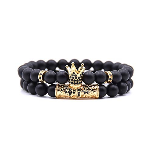Matte Gold Bracelet - KAMRESH Black Matte Beads Bracelets 8mm Onyx Stone Bracelets Sets Charm King Crown for Women Men Jewelry