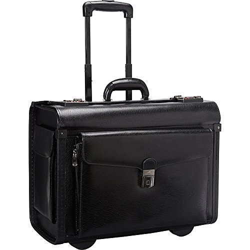 Mancini Deluxe Wheeled Leather Catalog Case - Black - Bk Leather