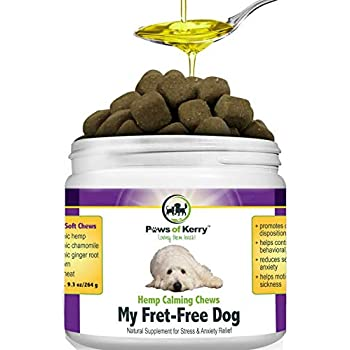 Paws of Kerry Calming Treats for Dogs Anxiety, Natural Hemp Oil for Dog  Anxiety Relief, Dog Calming Aid for Separation Anxiety, Stress, Storms,