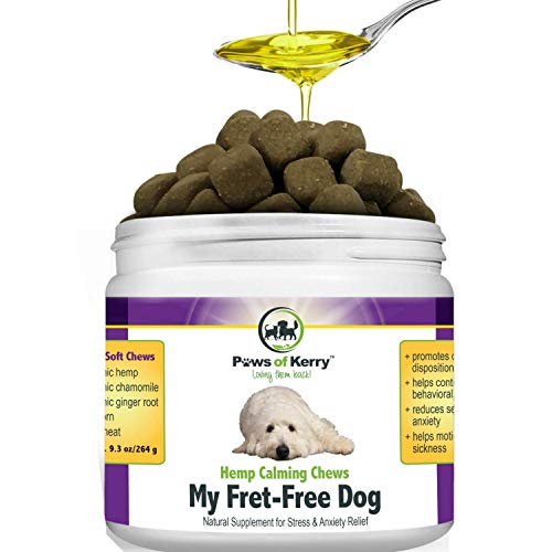 Paws of Kerry Calming Treats for Dogs Anxiety, Natural Hemp Oil for Dog Anxiety Relief, Dog Calming Aid for Separation Anxiety, Stress, Storms, Fireworks, Chewing & Barking 120 Soft Chews (My Dog Has Seizures In His Sleep)