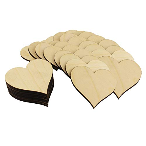 (Select Your Size! - Wooden Hearts Shape, Laser Cut, Baltic Birch Wood (1.5