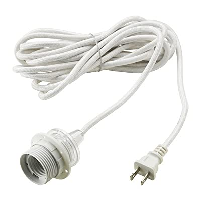 "Ikea Cord Set Hanging Pendant Lamp, White Sekond 15'.5"" Premium Fabric Wrapped Uses Standard Size Light Bulb"
