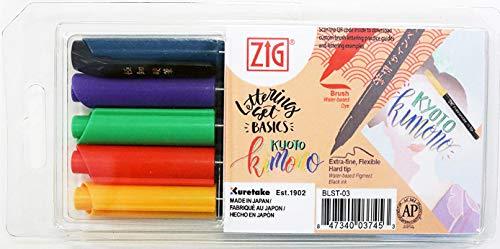 Kuretake ZIG BLST-03 Fudebiyori Lettering Set Brush Pens, 4 Assorted Colors, Kyoto Kimono