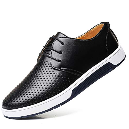 - Moodeng Men`s Causal Breathable Loafers Classic Flats Shoes Lace Up Urban Fashion Sneakers Black