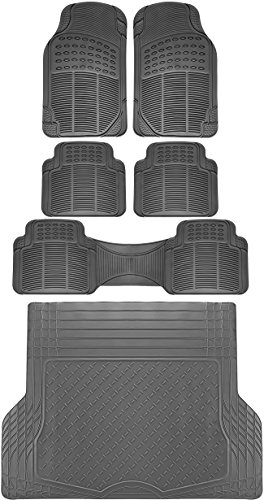 OxGord 6pc Full Set Ridged Rubber Floor Mats, Universal Fit Mat for SUVs Vans- Front Rear, Driver Passenger Seat, Rear Runner, and Trunk Liner Gray