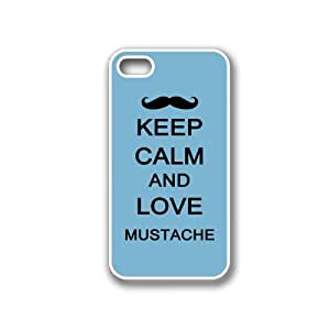 Keep Calm And Love Mustache Aqua - Protective Designer WHITE Case - Fits Apple iPhone 4 / 4S / 4G