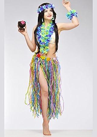 Boland Largo Multicolor Falda Hawaiana con Flores: Amazon.es ...
