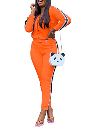 Track Suit for Women Set Casual Two Piece Outfits Sweatsuits Juniors Tops Skinny Long Pants Jogging Suits Matching Sets Orange (Juniors Sweatsuits)