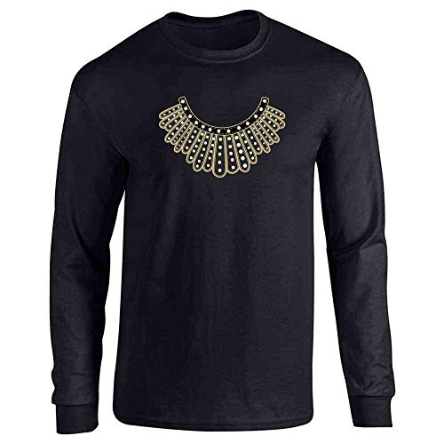 Pop Threads RBG Dissent Jabot Collar Supreme Court Justice Black L Long Sleeve T-Shirt]()