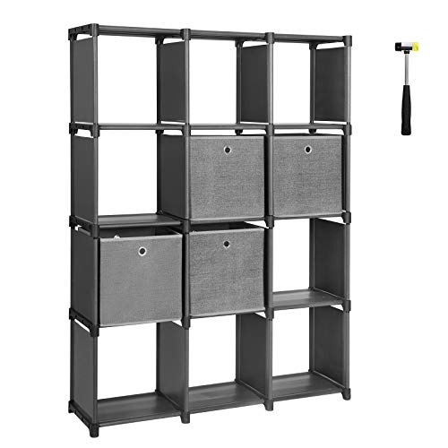 SONGMICS DIY Cube Storage Unit with Storage Boxes, 12 Cubes Multifunctional Book Shelves and Shoe Rack, Modular Sturdy Metal Frame, Includes Rubber Mallet, 55.1 L x 11.8 W x 41.3 H, Black, ULSN34BK
