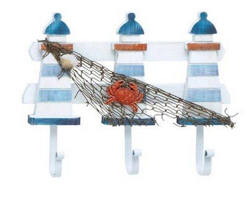 Sherry Wood Finish - Lighthouse Fish Net Crab Shell Triple Coat Cap Hook Wall Plaque