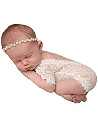 Singleluci Newborn Baby Girl Photography Prop Lace Romper Jumpsuit Princess Onesie