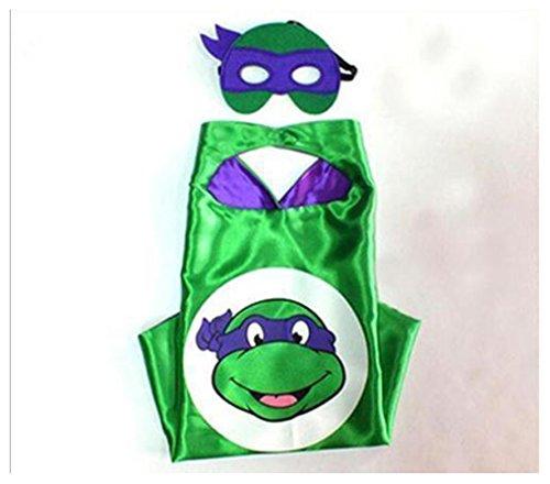 Kids Cape & Mask Superhero Boy Girl Party Costume Set Superman Batman Spiderman Purple turtel Cape Only