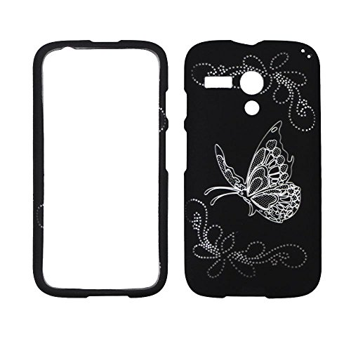 2D Silver Butterfly on Black Motorola Moto G / XT1032 Case Cover Phone Snap on Cover Case Faceplates
