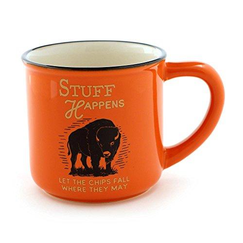 "Enesco 6000129 Our Our Name Is Mud For Men ""Stuff Happens"" Stoneware Coffee Mug, 16 oz, Orange"