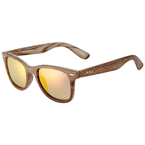 JULI Polarized Sunglasses Mens Womens Original Wayfarer Vintage Style Wood Grain Frame Red Lens Wrap 51mm 2140