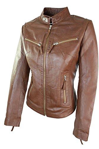 Vintage Rock Veste Cintrée Marron Cuir Style Clair Véritable Coupe Perfecto Biker Femme 100 HnfwqUzF