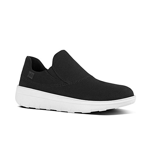 FitFlop Womens Loaff Sporty Slip-On Canvas Black Sneaker - 8 (Canvas Sporty)