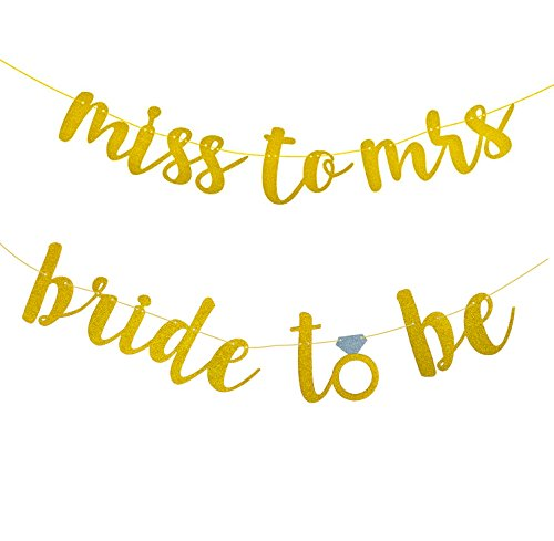 Gold Glitter MISS TO MRS Banner and BRIDE TO BE Banner for Bachelorette Engagement Wedding Party Bridal Showers Party Decorations Favors Supplies 2 PCS]()