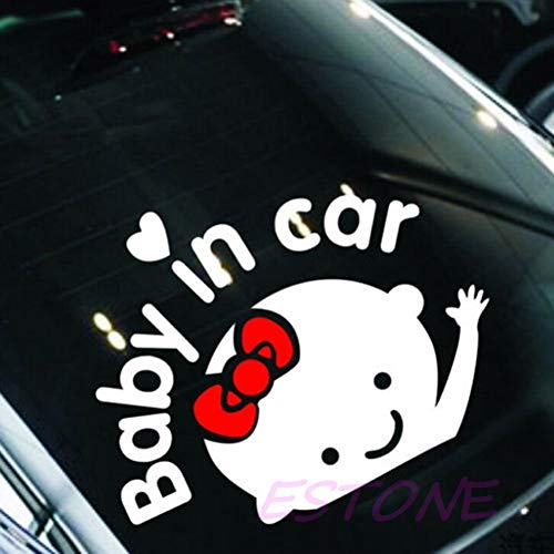 """[ Daphot - Store ] - Baby In Car"""" Cute Waving Baby On Board Safety Sign Auto Car Decal/Sticker New"""