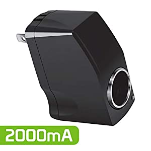 Cellet Universal 2000mA (2Amp) 12V Output AC Wall to DC Car Cigarette Lighter Port Power Converter Female Adapter– Black (Convert 110V to 12V)