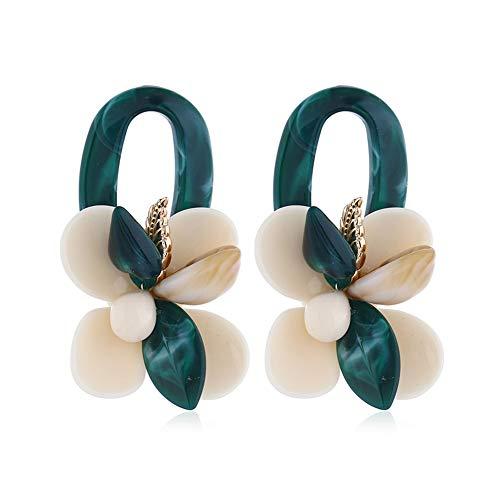 FAUOI Personalized Coral Flower Dangle Earrings for Women Flower Ear Jacket Stud Round Hoop Statement Earrings Hypoallergenic& Lightweight