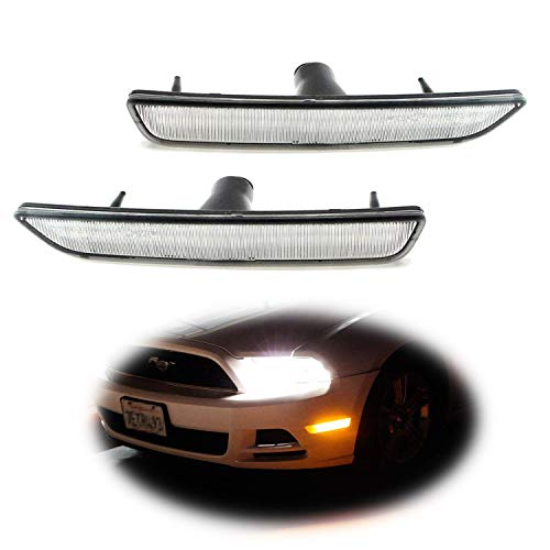 (iJDMTOY (2) Clear Lens Front Side Marker Lamps with 27-SMD Amber LED Lights For 2010-2014 Ford Mustang Front Bumper)