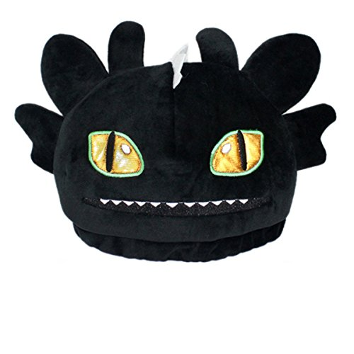 Toothless Night Fury Costumes (How to Train Your Dragon 2 Toothless Night Fury Plush Hat Cap Cosplay Costume Black 22cm/8.67