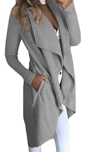 Tootess Women's Longline Turn-down Collar Irregular Utility Cardigan
