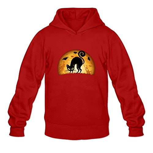 JUST Women's Costumes Happy Halloween Cute Black Cat Hoodies Red]()