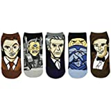 Doctor Who Socks (5 Pair) - Low Cut Socks - Fits Shoe Size: 4-10 (Ladies)