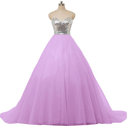 Sunvary Chic Sequins Tulle Wedding Bride Dress Prom Quinceanera Size 26W Lilac