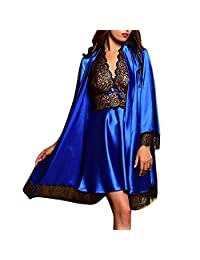 baskuwish Women Sexy V Neck Silk Satin Robe Camisole Pajama Dress 2 Piece Suit Sleepwear Set Lace Babydoll