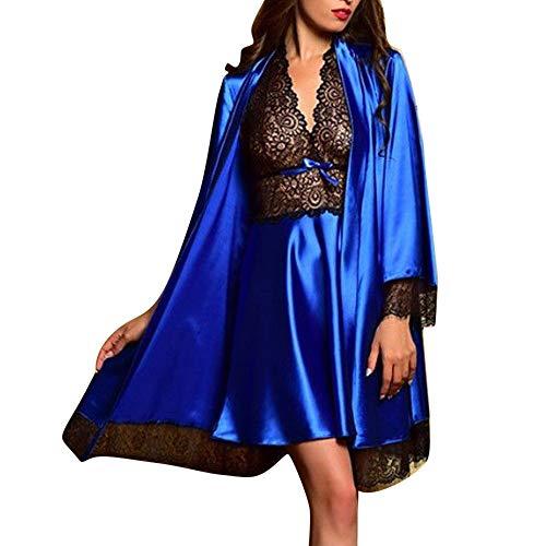 Christmas 2PCS Women Plus Size Sexy Lingerie Robe V Neck Halter Nightwear Satin Sleepwear Lace Chemise Mini Teddy (Blue, M) (Holiday Chemise)