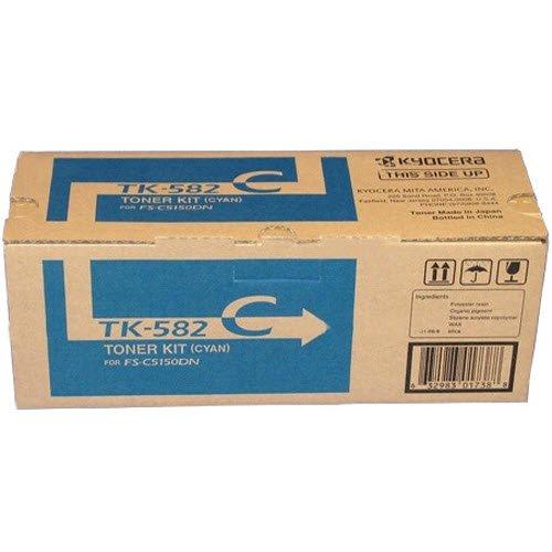 Original Kyocera FS-C5150DN/P6021cdn TK-582 Cyan Toner, 1T02KTCUS0 (2,800 Pages)