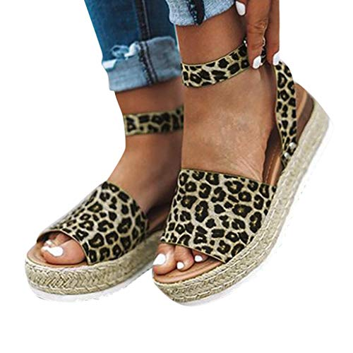 Women's Roman Sandals,LuluZanm Sale! Ladies Leopard Retro Peep Toe Sandals Summer Buckle Strap Beach Wedges Shoes -